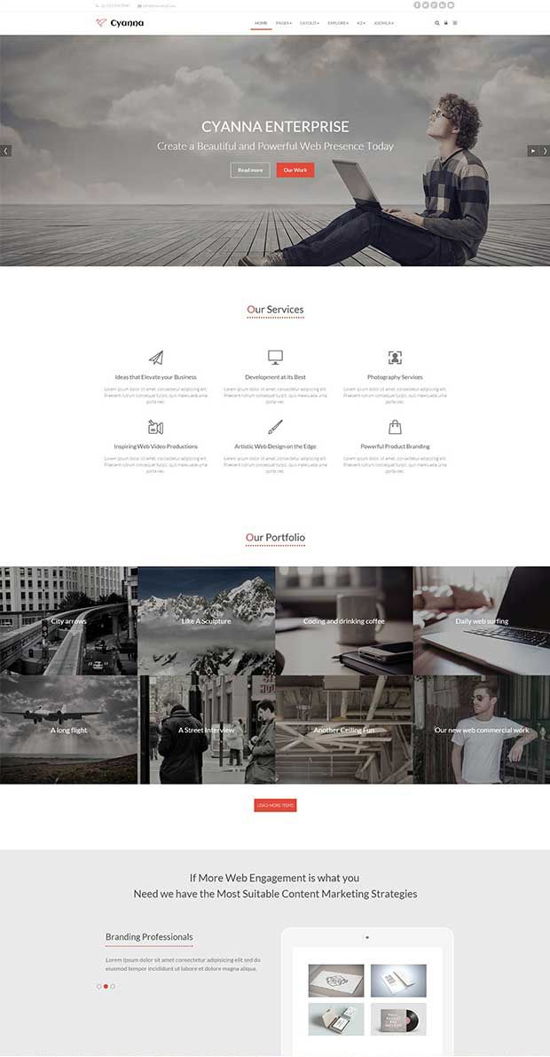 Cyanna is a clean, stylish and professionally designed responsive Joomla template, suitable for blogs, portfolios and business sites.