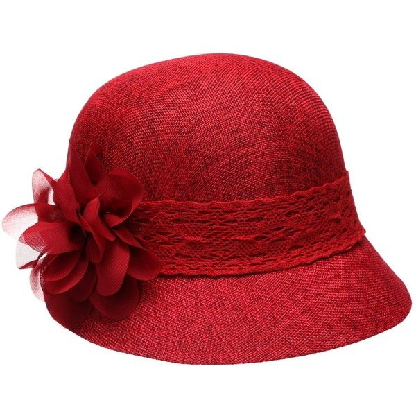 Women's Gatsby Linen Cloche Hat With Lace Band And Flower ❤ liked on Polyvore featuring accessories, hats, flower bucket hat, gatsby hat, linen hat, red hat and fisherman hat