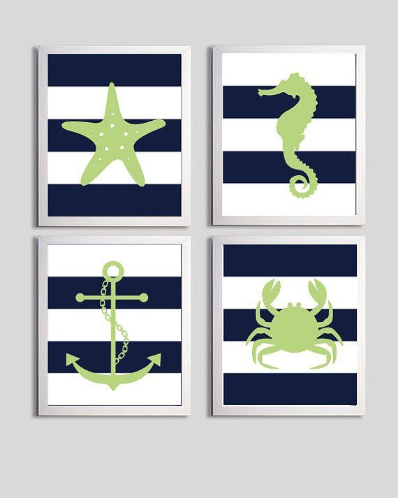 Nursery Art Stripes Nautical Beach Ocean Sea Navy Green Bannanafish more colors available set of 4 each 8x10 on Etsy, $48.00