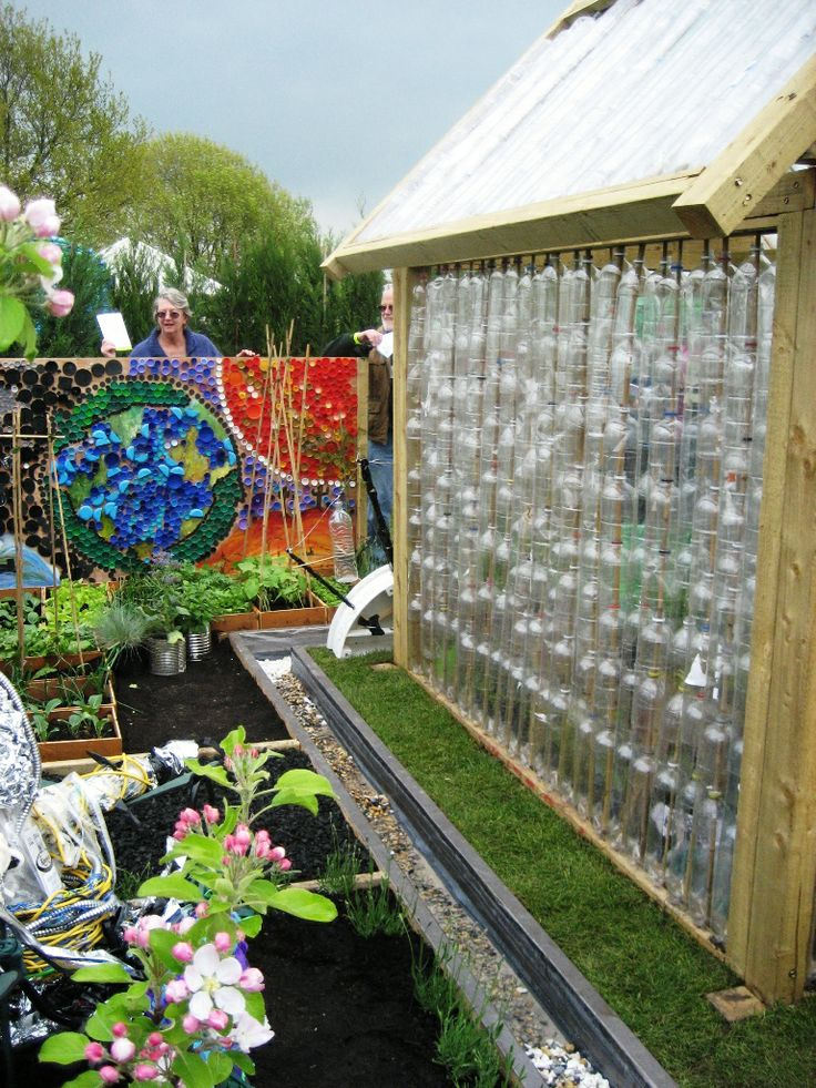 Garden ideas from recycled materials greenhouse made for Garden decorations from recycled materials