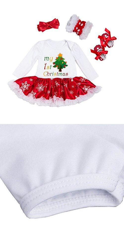 fff8c1ef0 BabyPreg Infant Baby Girl My First Christmas Outfits Romper Tutu Dress with  Headband Shoes