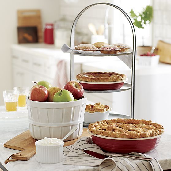 Red and Cream Pie Dishes   Crate and Barrel