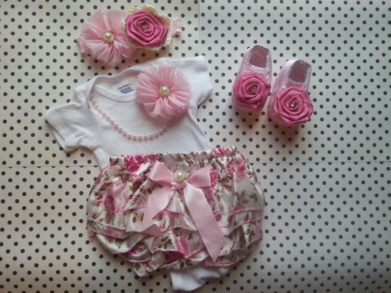 Baby Girl Newborn Floral Outfit Crib Shoes by LeopardLaceLove