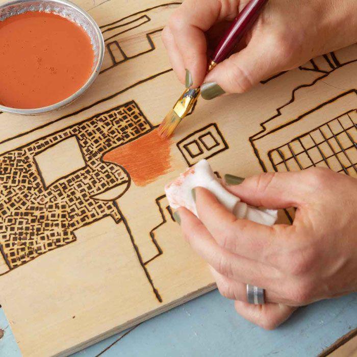 Paint Shapes Within The Woodburned Pattern Wood Burning