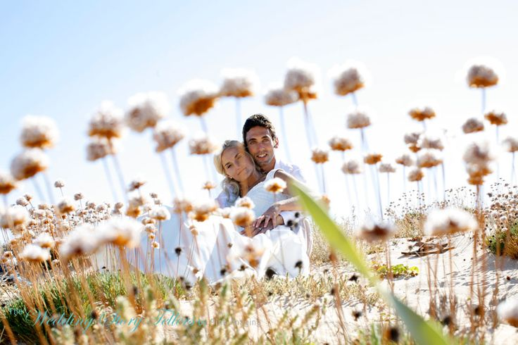 Beautiful couple in Algarve Sand Dunes on their wedding day