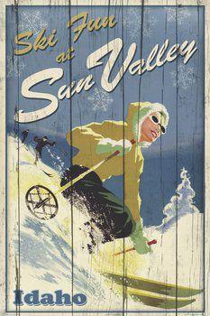 Sun Valley Idaho SKI FUN Vintage-Style Skiing Travel Poster - Artist Kate Ward Thacker -available at www.sportsposterwarehouse.com