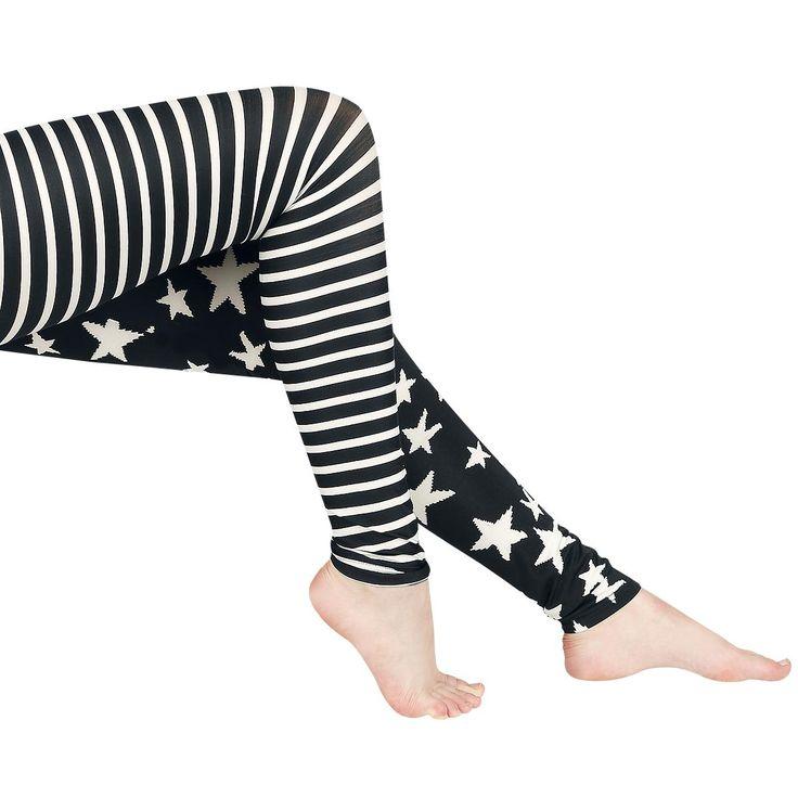 """#Leggings a stelle e strisce """"Stars & Straps"""" della collezione Black Premium by EMP bianchi e neri."""