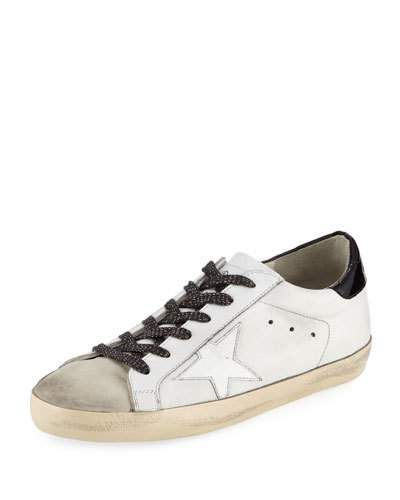X3STY Golden Goose Superstar Leather Low-Top Sneaker, White/Black