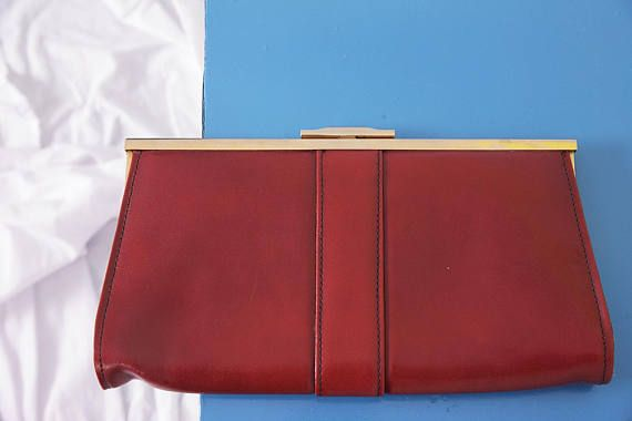 red leather handbag vintage clutch evening bag red leather