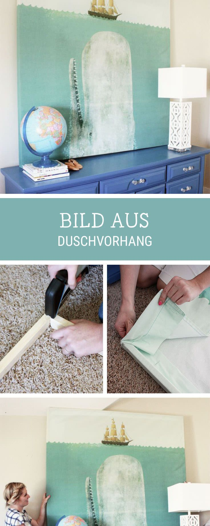 Einfaches DIY für Dein Zuhause: Duschvorhang in ein XXL-Bild umwandeln / easy diy tutorial: turn a shower curtain into an overszied picture for your wall via DaWanda.com