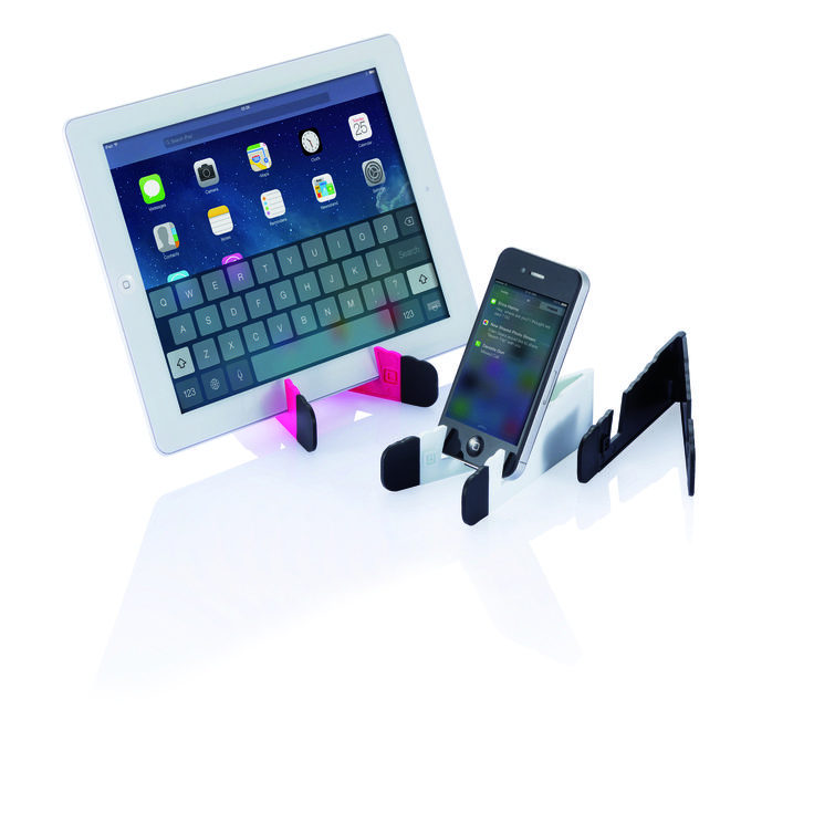 Compact tablet and phone stand with 2 rubber ends for extra grip.
