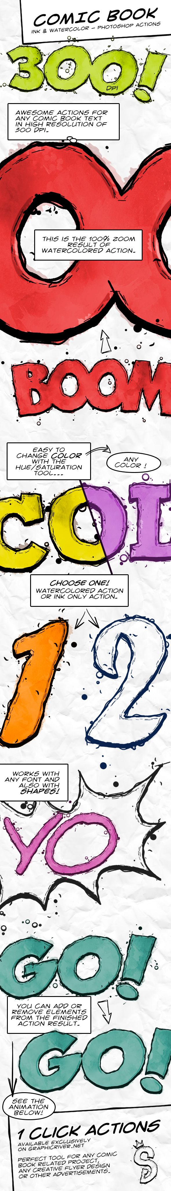 Comic Book Ink Actions  300 DPI — Photoshop ATN #text actions #type actions • Download ➝ https://graphicriver.net/item/comic-book-ink-actions-300-dpi/19705134?ref=pxcr