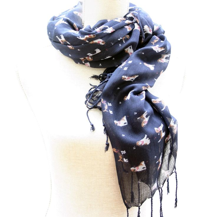 Beagle Print Scarf Navy #Jewellery #Accessories #scarf