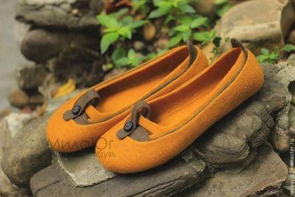 """Обувь ручной работы. Заказать """"Осени янтарь"""" туфельки балетки валяные. МилаЮг              авторская обувь. Ярмарка Мастеров. Осень"""
