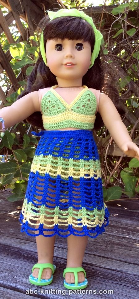 ABC Knitting Patterns - American Girl Doll Beach Cover-Up
