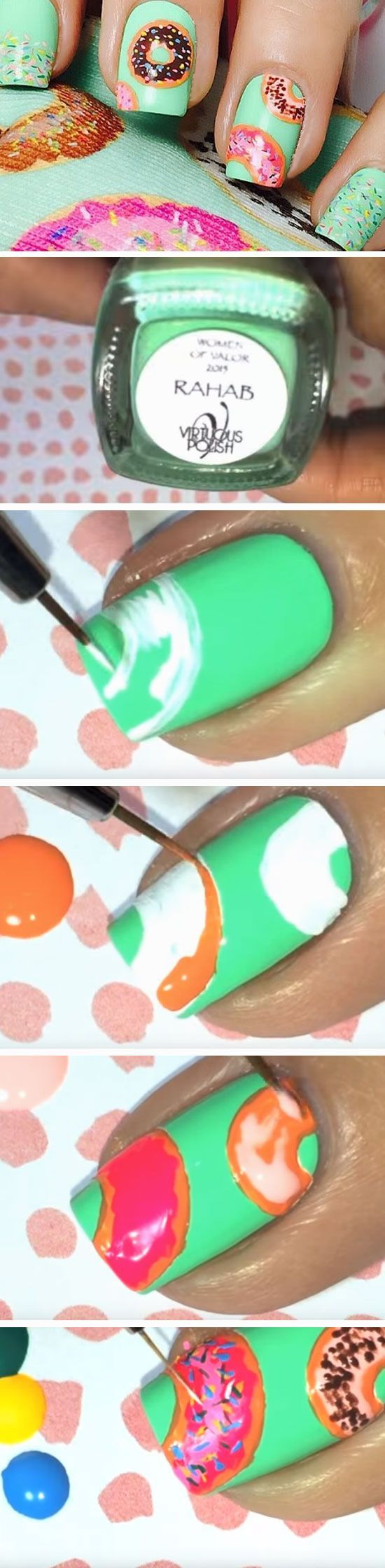 Donuts | Click Pic for 22 Easy Spring Nail Designs for Short Nails 2016 | Awesome Nail Art Tutorials for Beginners