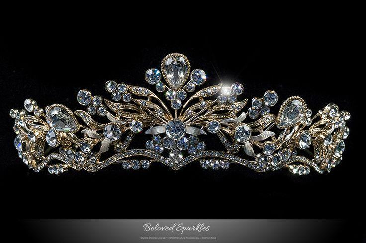 Sabella Victorian Art Deco Gold Tiara | Swarovski Crystal
