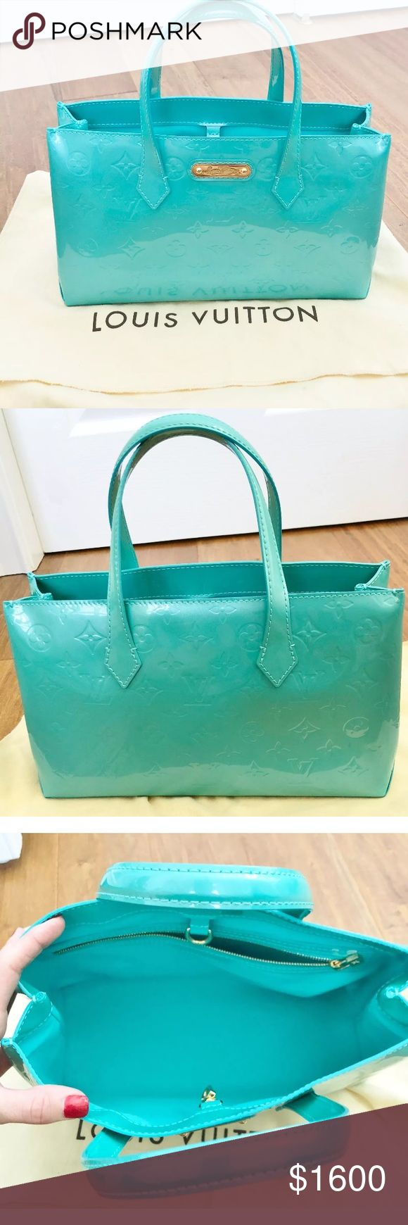LOUIS VUITTON Tiffany Blue Lagoon Bag Authentic GORGEOUS 100% AUTHENTIC LOUIS VUITTON TREASURE  Louis Vuitton Wilshire PM Limited Edition Monogram Vernis Blue Lagoon (Tiffany Blue) NEW without tags  BAG IS NEW IN MINT CONDITION - PLEASE SEE ALL PHOTOS - COMES W ORIGINAL LV DUST BAG! This one won't last long so scoop it up now!  Item is from a HUGE closet clean-out sale with tons of high end designer things!  From smoke-free home and shipped quickly via USPS priority. Comes with dust bag…