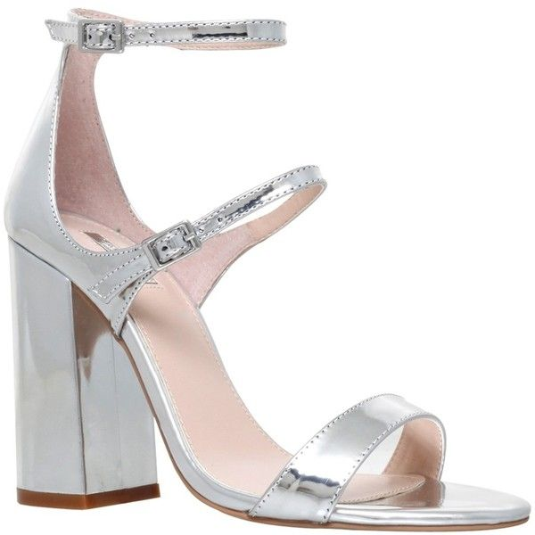 Carvela Genetic Double Strap Block Heeled Sandals, Silver (£99) ❤ liked on Polyvore featuring shoes, sandals, silver strappy sandals, low block heel sandals, strappy flat sandals, strappy sandals and flat sandals