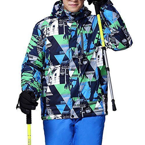 #iPretty Skianzug Herren Skijacke Outdoorjacke Regenjacke mit kapuze Softshell Jacke wasserdicht atmungsaktiv Funktionsjacke-Blau-M, 00714812686023