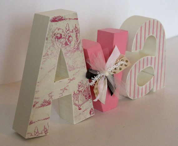 wooden letters for baby girl nursery by juleswoodncreations this would be awesome made with your family last name and in your favorite color scheme