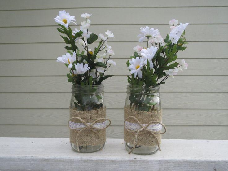 creative mason jar centerpieces | Burlap and Lace Mason Jar Centerpieces by RusticBella on Etsy