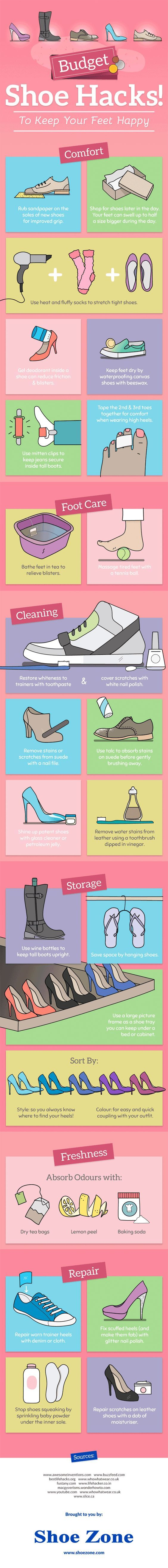 Infographic: Shoe Hacks for Happy Feet | Mental Floss