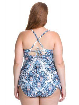 bd807ed2dcdcc Becca ETC Women s Plus Size Naples Handkerchief Hem Cross Back Tankini Swim  Top