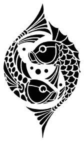 stencil from stencillibrary.com, art deco fish motif.  splash that around on the brown walls in silver.