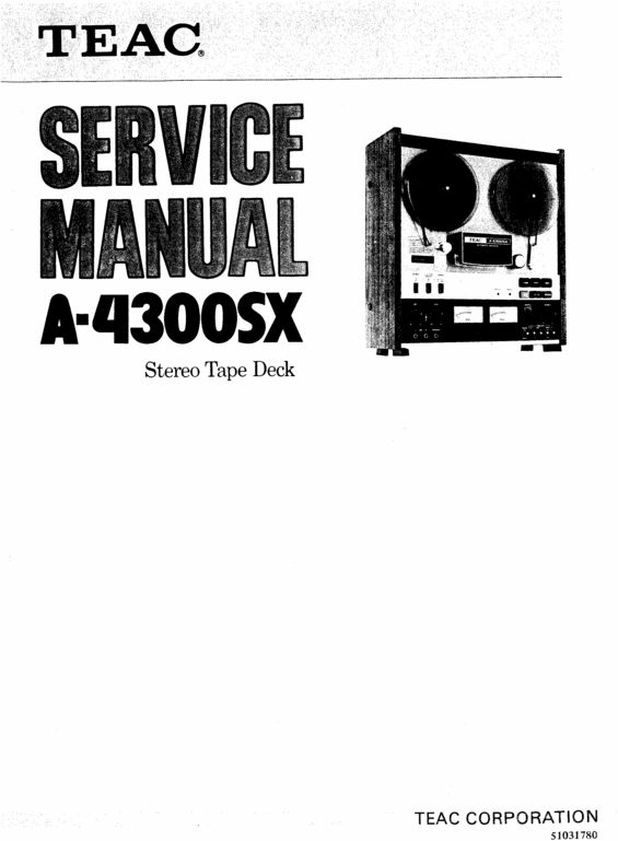 Teac A-4300-SX reel tape recorder Service Manual in 2019