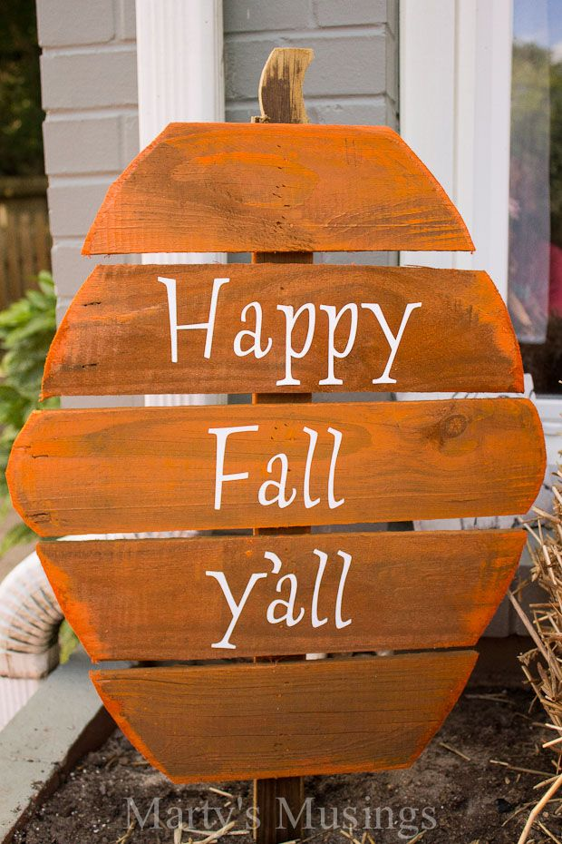 Fence Board Pumpkins #fall - Marty's Musings