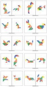 Tangram voorbeeldkaarten van dieren.