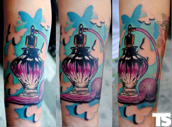 perfume bottle (:Perfume Bottle Tattoo, Perfume Bottle Ink, Tattoo Inspiration, Perfume Bottles, Butterflies Tattoo, Amazing Tattoo, Tattoo Studio, Vintage Perfume Bottle, Perfume Tattoo