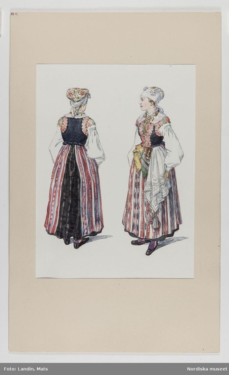 Kvinnodräkt från Östra härad i Blekinge. Akvarell av Emelie von Walterstorff. (E.v.Walterstorff)