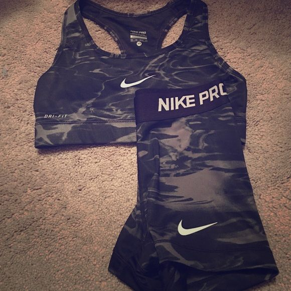 Nike pro shorts and matching sports bra Worn once, perfect condition. Nike Other