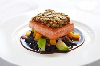 """Pumpkin Seed Crusted Salmon with Stayman Apple Cider Jus. """"Let me just say, this is a badass dish. """" From Chef Walter Bundy."""