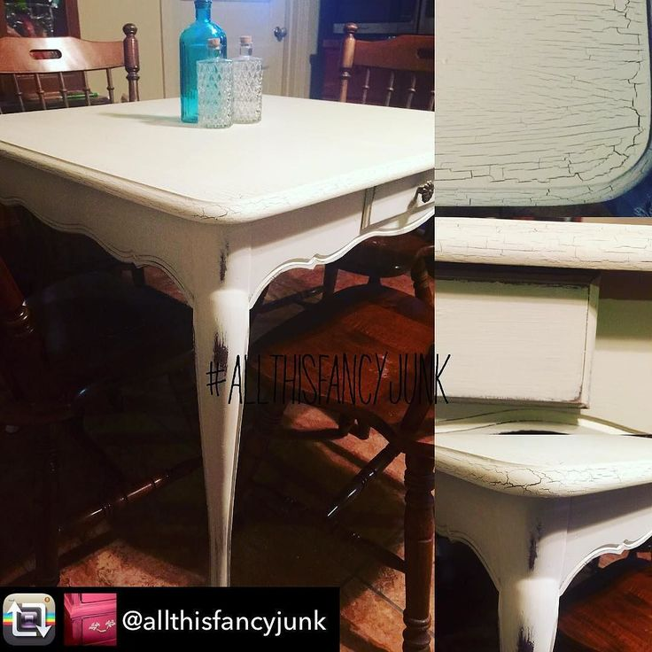 "Repost from @allthisfancyjunk using @RepostRegramApp - I'm back in my groove! This is one of my favorite tables! So cute quaint warm and inviting! Great for small spaces your ""kid table"" for thanksgiving/Christmas card/game table etc! It's painted with @mudpaint #ManorWhite! Gave a great crackling effect on top and has been #DistressedToPerfection! #AllThisFancyJunk #PaintedFurniture #White #distressedfurniture #FrenchCountry #farmhousestyle #Farmhouse #MudPaint #Vintage #Furniture"