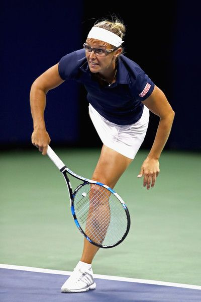 Kirsten Flipkens of Belgium serves against Elena Vesnina of Russia during their second round Women's Singles match on Day Four of the 2017 US Open at the USTA Billie Jean King National Tennis Center on August 31, 2017 in the Flushing neighborhood of the Queens borough of New York City.