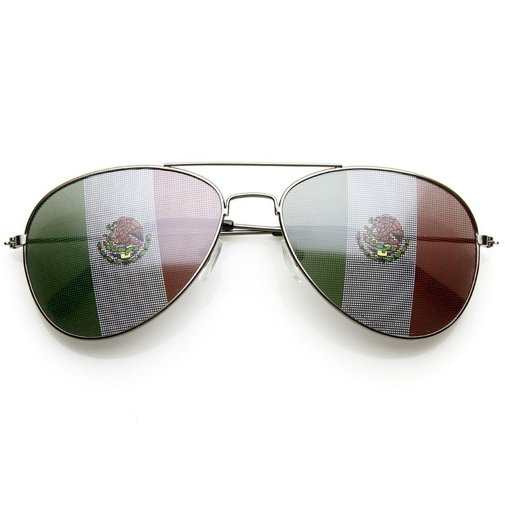 Classic Metal Aviator Mexican Flag Lens Novelty Sunglasses