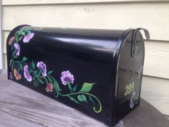 "Hand Painted  rural Mailbox ""Sweet Pea"", design by artist,  Garden decor, Flowers"