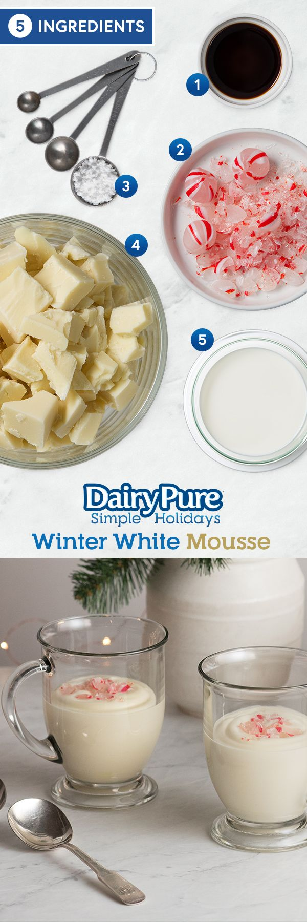 DairyPure® Winter White Mousse -- Whipping up a dessert for the holidays doesn't have to be stressful! Our white chocolate mousse is a light, fluffy treat that is as tasty as it is simple to make with just 5 ingredients.