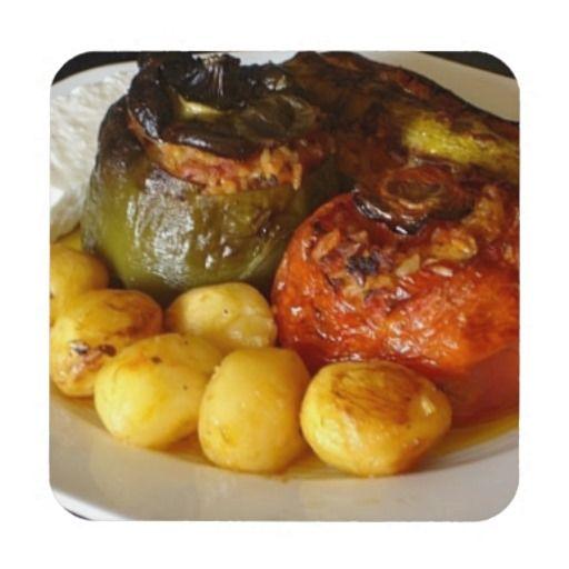 Greek stuffed vegetables (Gemista) Coasters -Set of 6 coasters.  http://www.zazzle.com/greek_stuffed_vegetables_gemista_coasters-163721923644190651