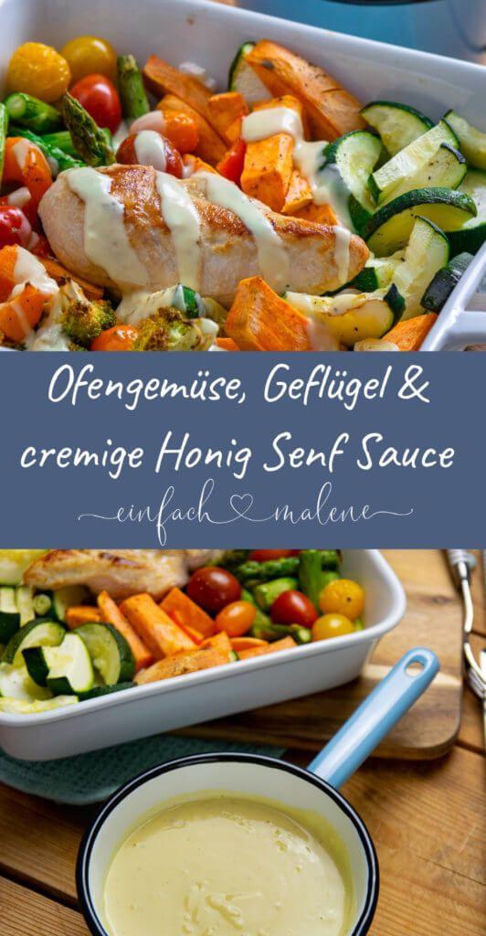 Mega creamy honey mustard sauce with roast vegetables and chicken breast   – *Rezepte – Geflügel