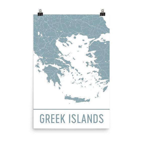 Greek Islands Map Art Print, Greek Islands Greece Art Poster, Greek Islands Wall Art, Map of Greek Islands, Print, Modern, Art, Gift, Print