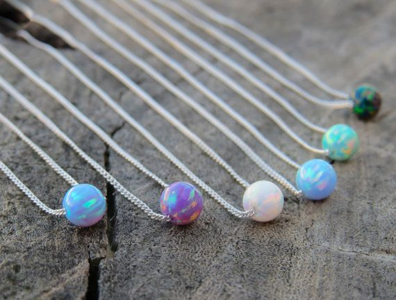 Opal necklace, opal ball necklace, opal silver necklace, blue opal jewelry tiny dot necklace opal bead necklace, dot necklace, green opal