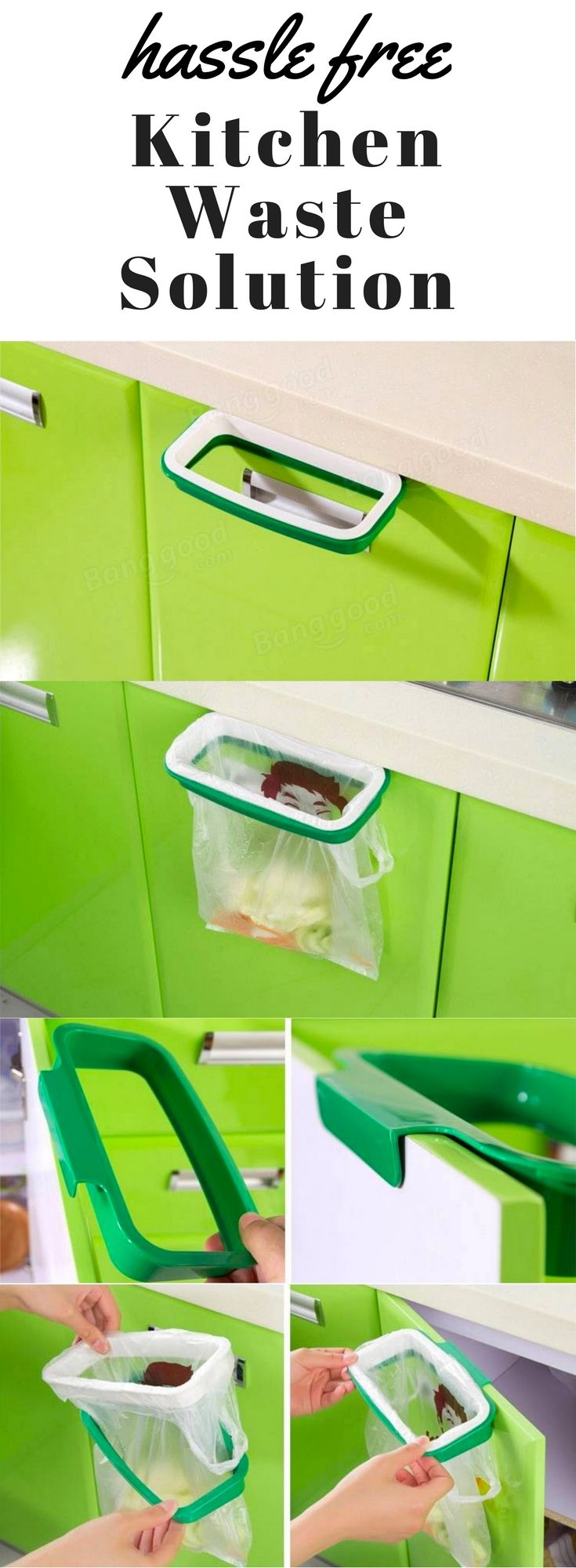 awesome kitchen ideas for waste + cooking easier + best kitchen gadgets and gizmos = Kitchen Cupboard Garbage Bag Storage Rack @ BangGood for $4.25!