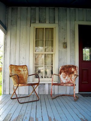 Two Old Rusty Metal Lawn Chairs...sittin' on a worn old porch...rustic conversation.