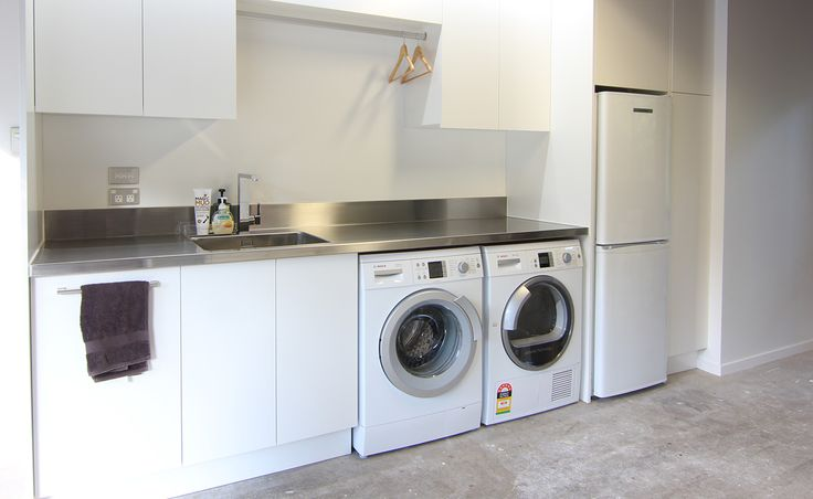 remodeled laundry room in garage