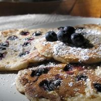 We had these for dinner tonight.  Very filling... it lies when it says it serves 4.  Way more than that.  Delicious.  We loved them! | Blueberry Oatmeal Pancakes Recipe