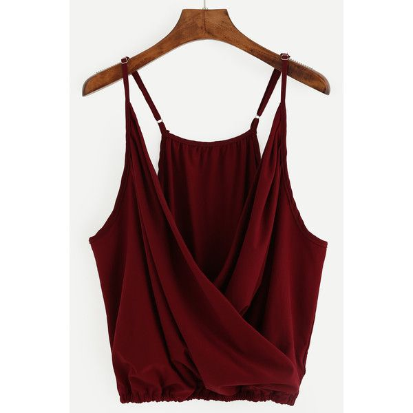 Burgundy Wrap Front Elastic Hem Cami Top (14 AUD) ❤ liked on Polyvore featuring tops, burgundy, cami tops, red cami top, red cami, red camisole top and red spaghetti strap top